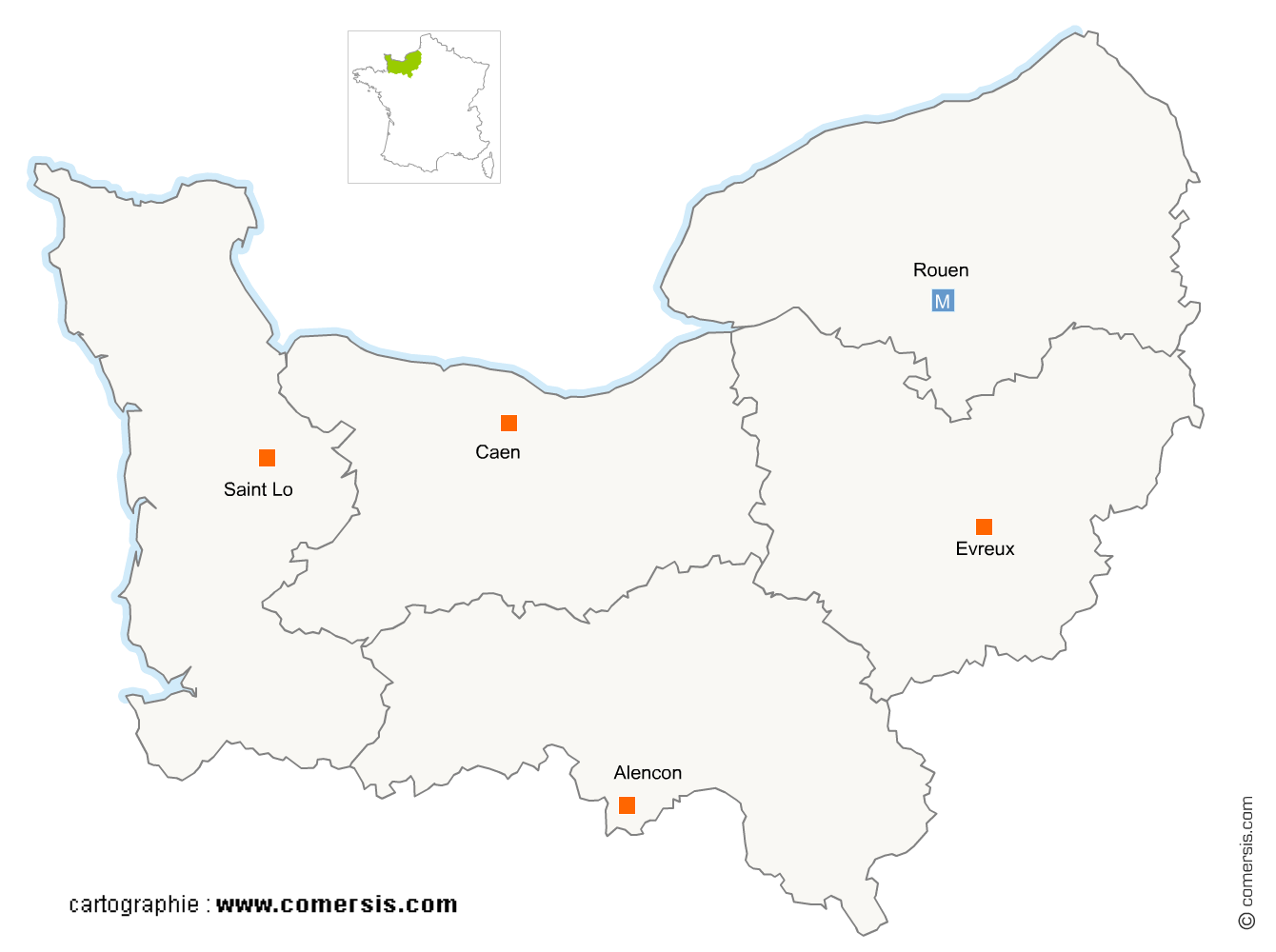 Carte région Normandie